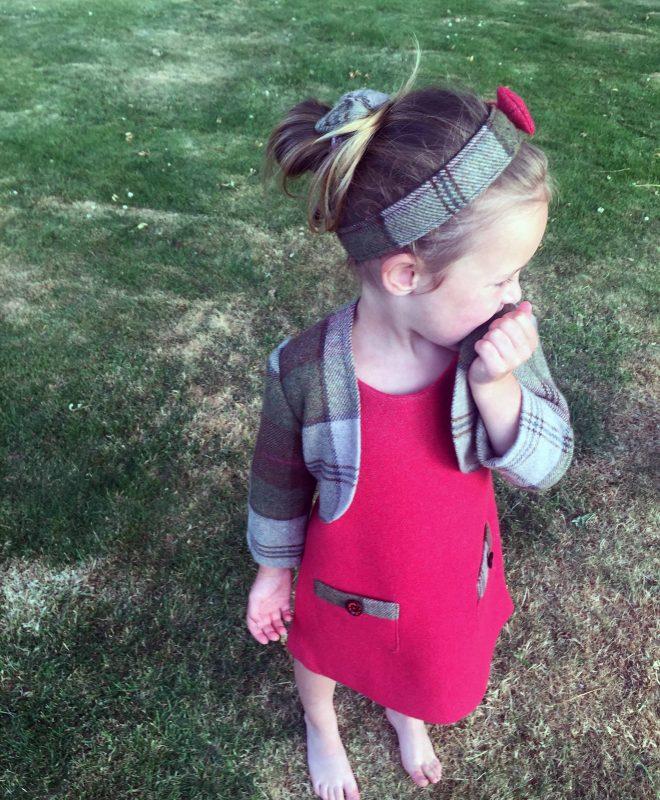 Girls irish tweed hairband autumn plaid and raspberry 1#