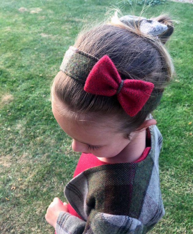 Girls irish tweed hairband autumn plaid and raspberry