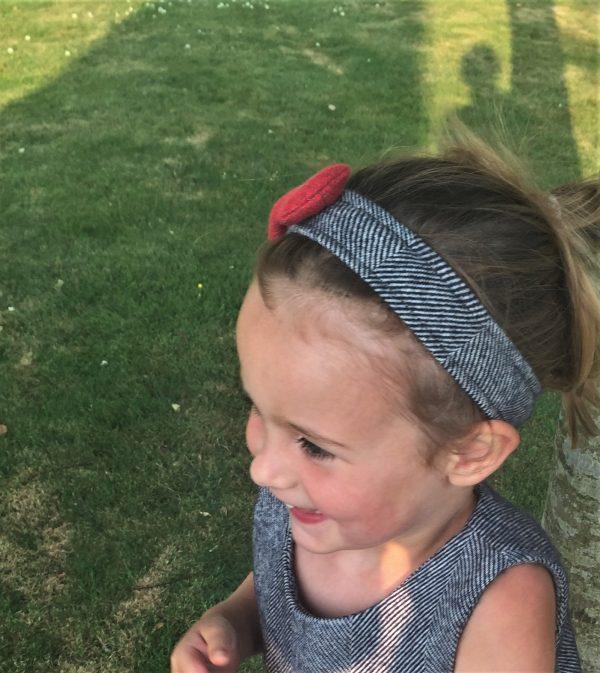 Girls irish tweed hairband navy herringbone and raspberry 2 Girls Irish Tweed Hairband in Navy Herringbone Raspberry Bow