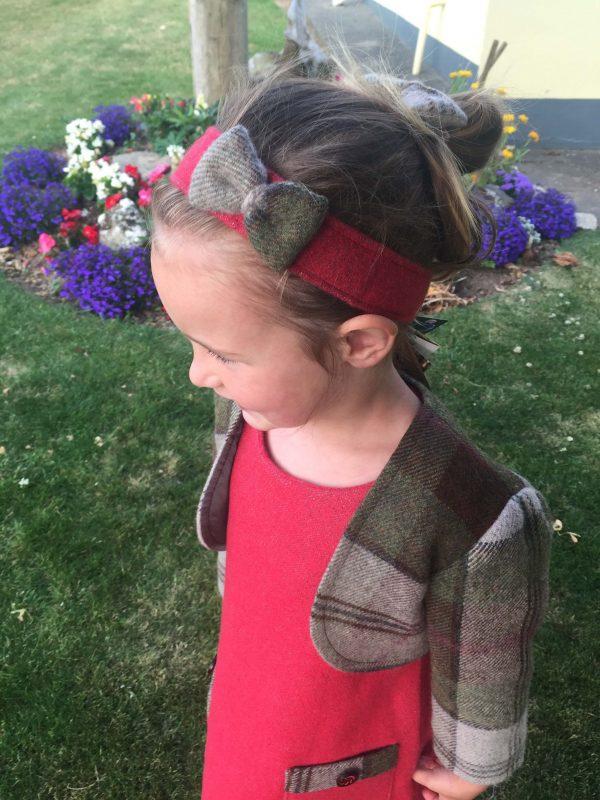 Girls irish tweed hairband raspberry and autumn plaid 2 scaled Girls Irish Tweed Raspberry Hairband with Autumn Plaid Bow
