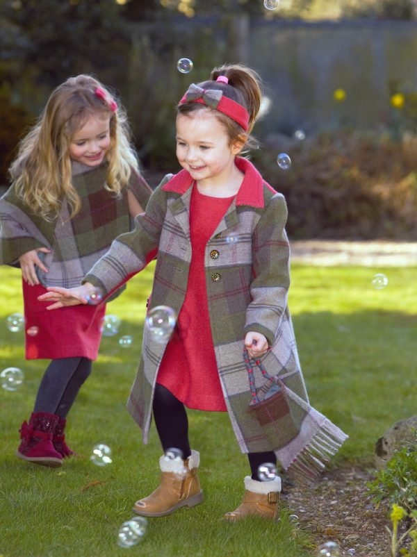 Girls Irish tweed autumn plaid Coat scaled Girls Irish Tweed Coat in Autumn Plaid with Raspberry Contrast
