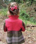 Girls Irish tweed coat Autumn plaid and raspberry back