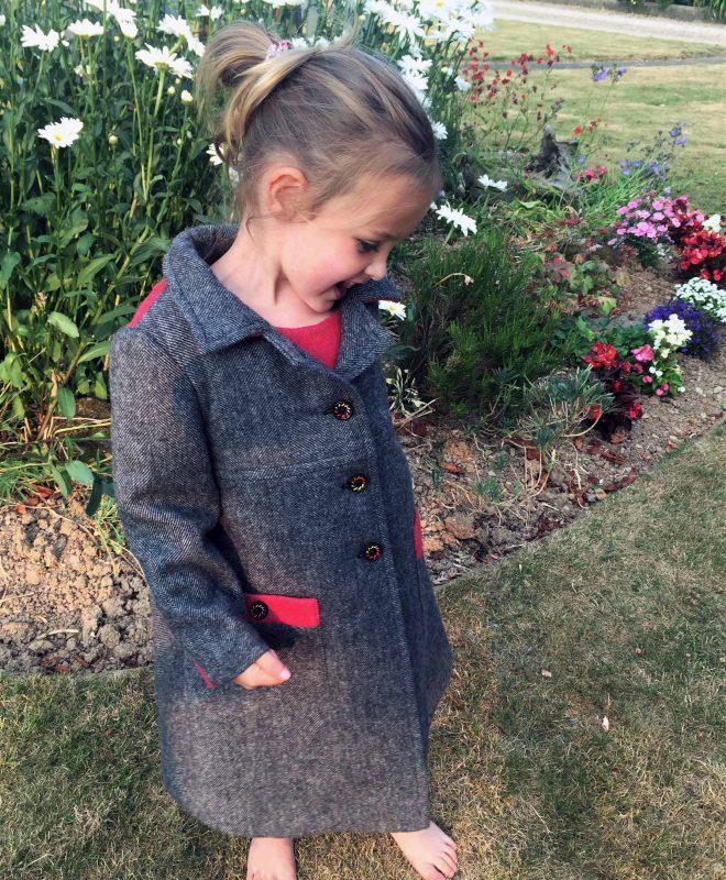 Girls Irish tweed coat Grey herringbone and raspberry