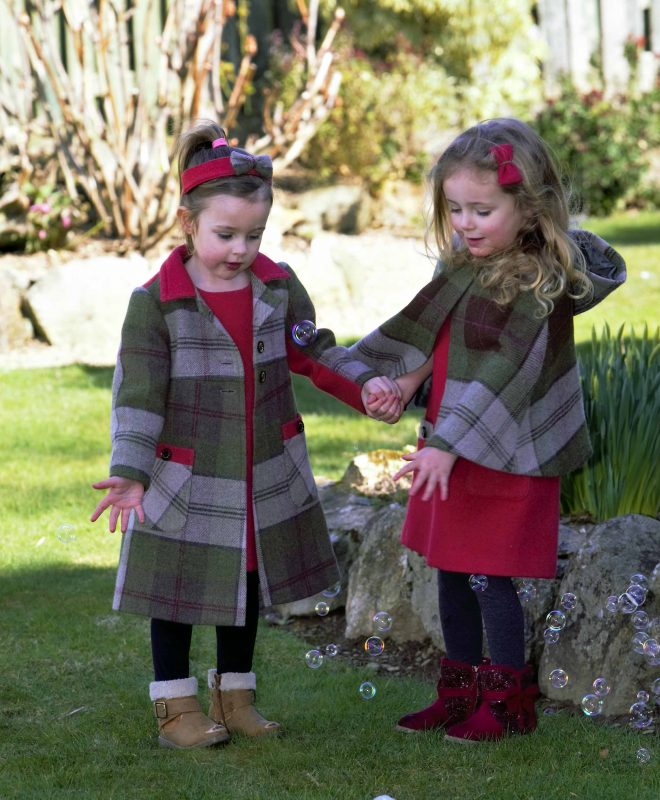 Girls Irish tweed coat and cape