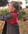 Girls Irish tweed coat grey herringbone and raspberry side