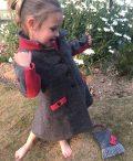 Girls Irish tweed coat grey herringbone and raspberry side view