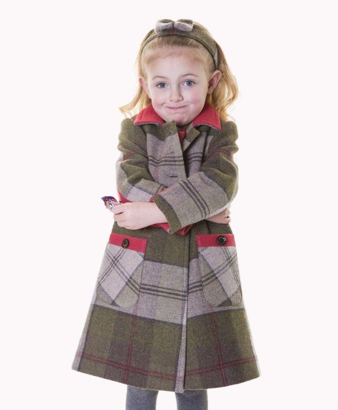 Girls Irish tweed coat with contrasting tweed panels 100% Lambswool