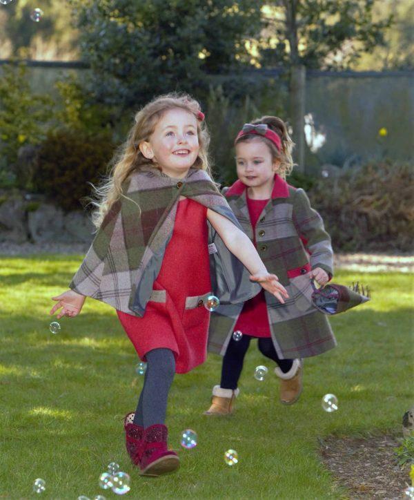 Girls matcing Irish tweed in Autumn Plaid scaled Girls Irish Tweed Cape with Hood Autumn Plaid