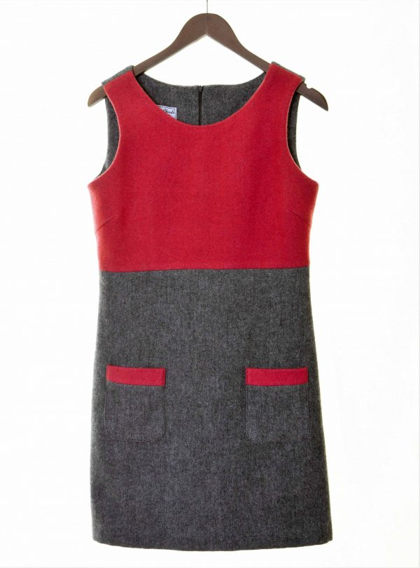 Ladies grey herringbone and raspberry tweed empire line dress €139 Fully lined with patch pocket detail 100 Lambswool Size XS XL FRONT VIEW scaled Ladies Grey Herringbone and Raspberry Irish Tweed Empire Dress