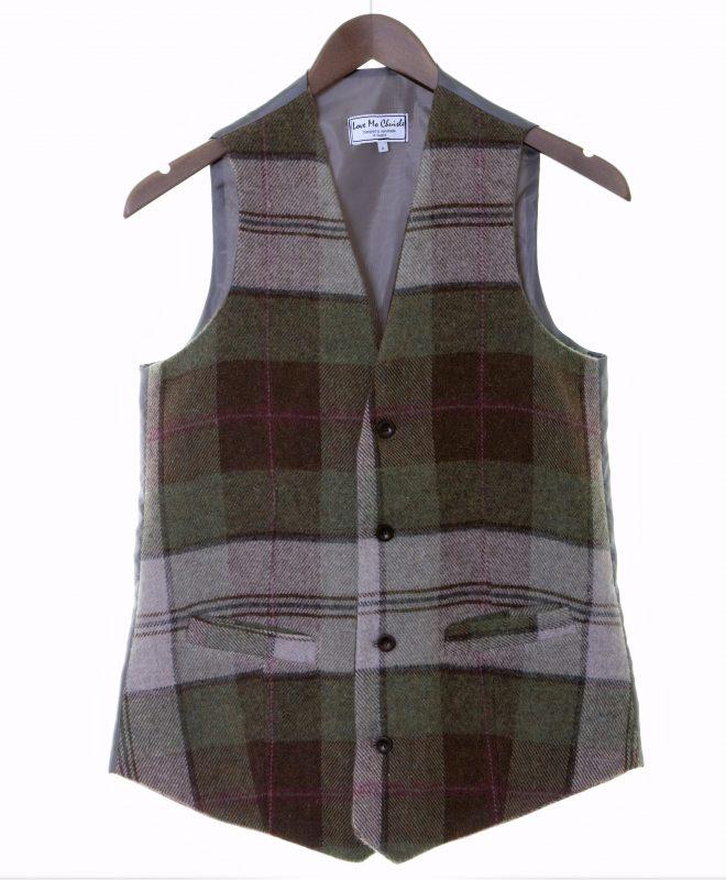 Mens autumn plaid Irish tweed waistcoats €129 100% Lambswool. Size XS - XXL FRONT VIEW
