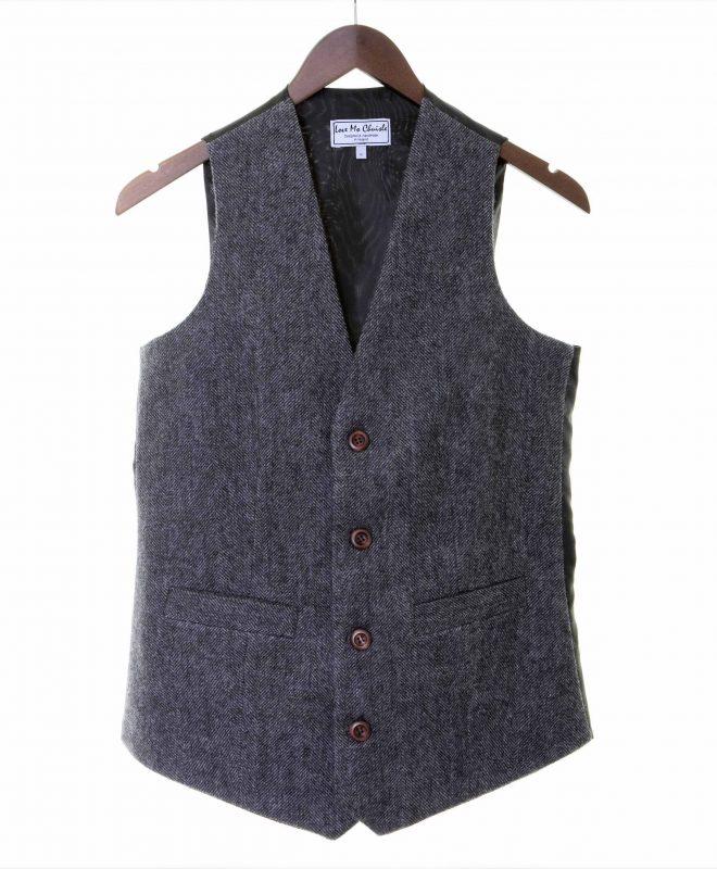Mens grey herringbone Irish tweed waistcoats €129 100% Lambswool. Size XS - XXL FRONT VIEW