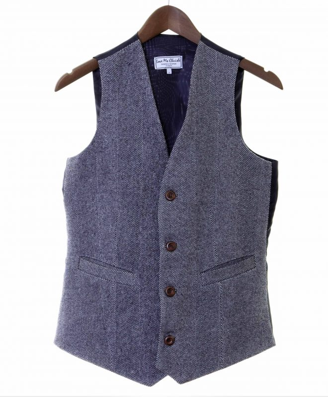 Mens navy herringbone Irish tweed waistcoats €129 100% Lambswool. Size XS - XXL FRONT VIEW