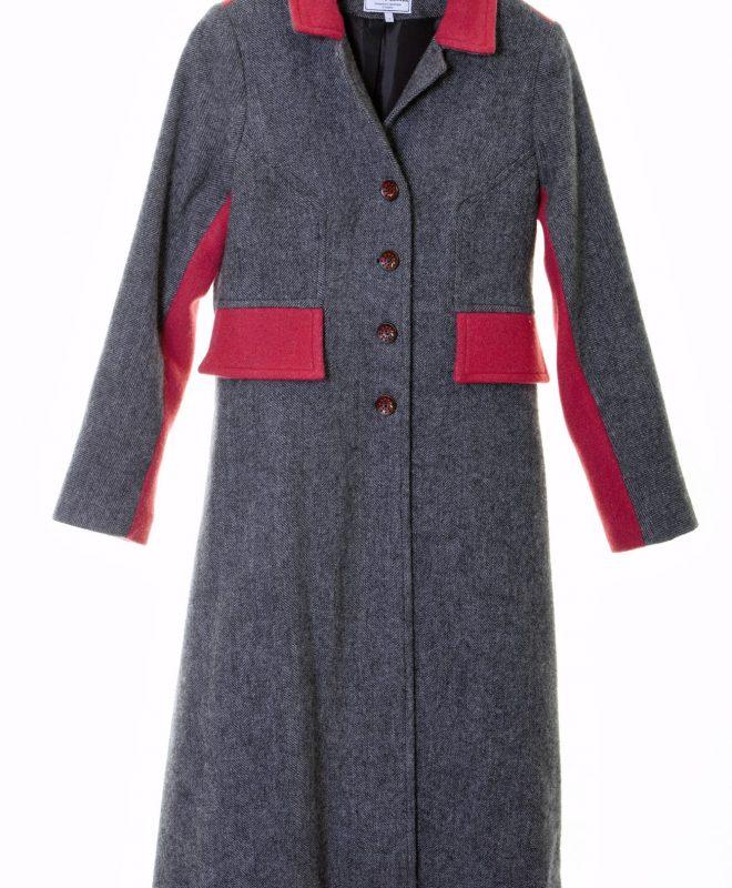 Ladies Irish Tweed grey and raspberry coat