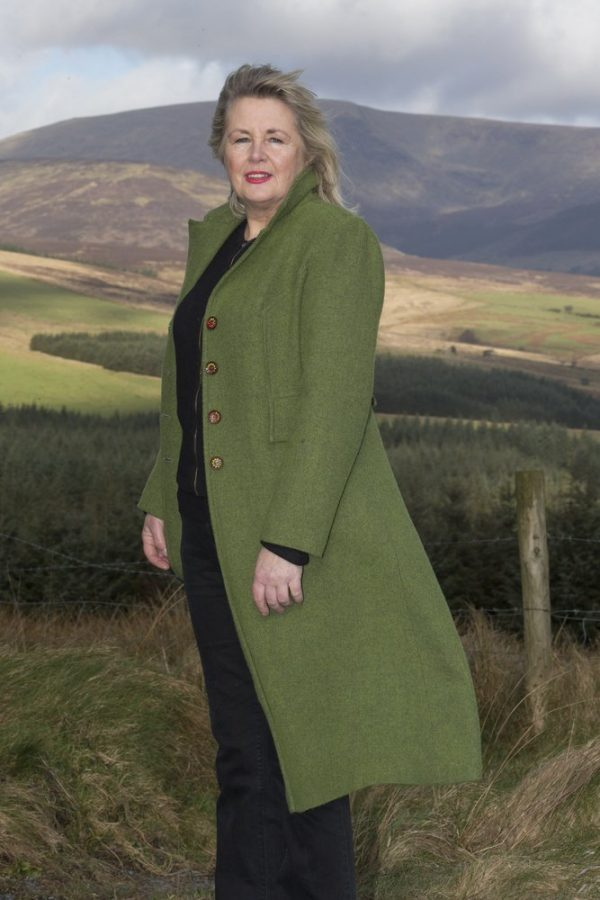 1DX 0047 Ladies Irish Tweed Coat - Green Herringbone