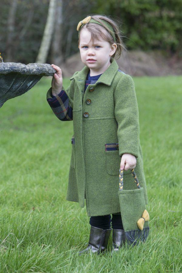 1DX 0331 scaled Girls Irish Tweed Palm Green Herringbone Navy Plaid Coat