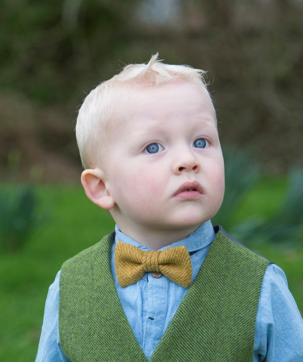 1DX 0433 2 Boys Mustard Herringbone Bow Tie