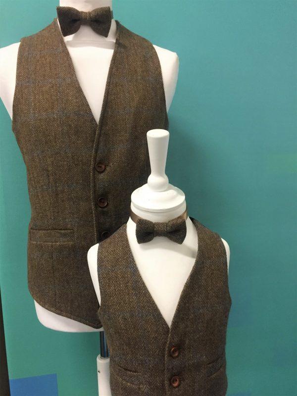 Tweed in the valley Mens waistcoat scaled Boys Brown Irish Tweed Waistcoat