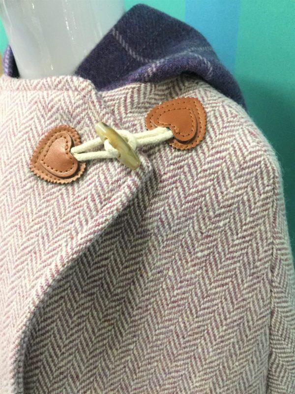 Tweed in the valley pink herringbone cape scaled Girls Irish Tweed Pink lavender and purple plaid Cape