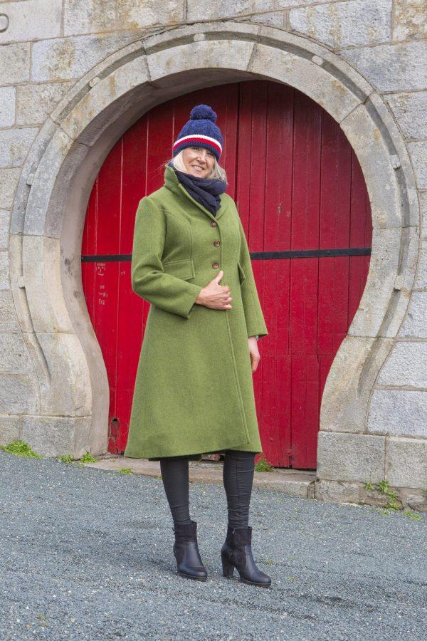 UL3A0226 scaled Ladies Irish Tweed Coat - Palm Green