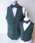 Blue tweed waistcoat