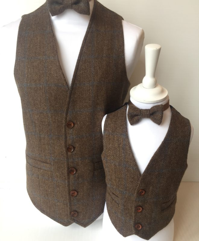 Brown tweed waistcoat