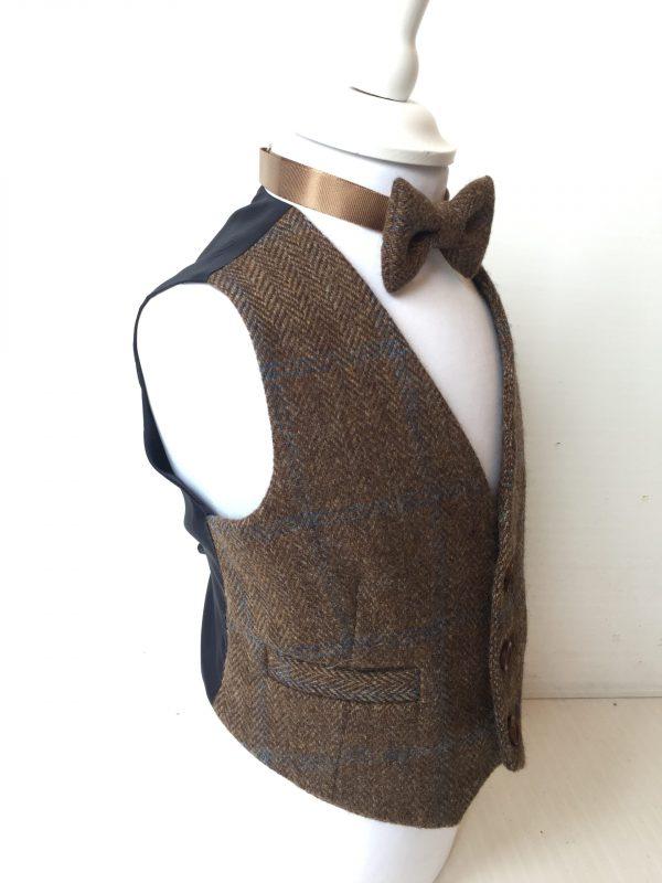 boys brown tweed waistcoat