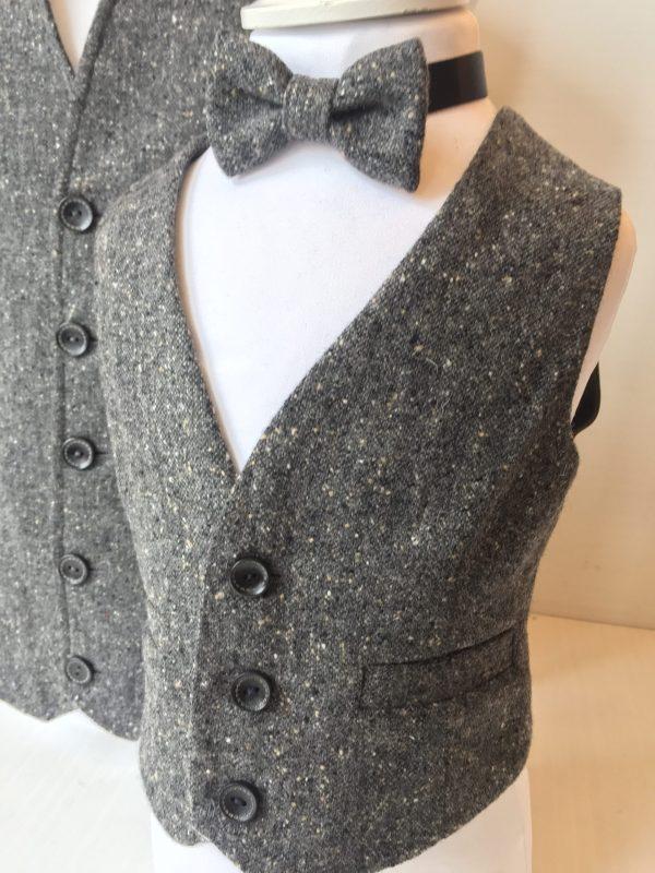 Boys grey speckle tweed waistcoat