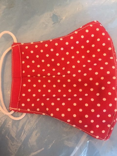 Face mask red polka dot 1