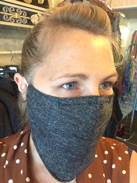Face mask scarf navy tweed 1