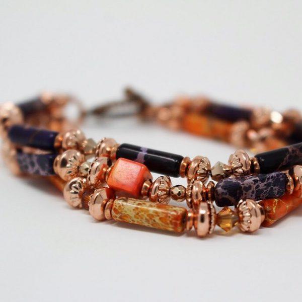 Tweed in the valley Burnt sienna tripple bracelet €65 1 BURNT SIENNA TRIPLE STRAND BRACELET