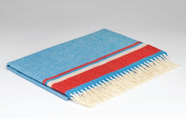 Tweed in the valley Lambswool baby blanket blue red.jpeg Lambswool Baby Blanket Blue & Red