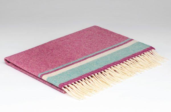 Tweed in the valley Lambswool baby blanket pink green.jpeg Lambswool Baby Blanket Pink & Green