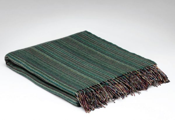 Tweed in the valley Pure wool throw green stripe Pure Wool Throw Green Stripe