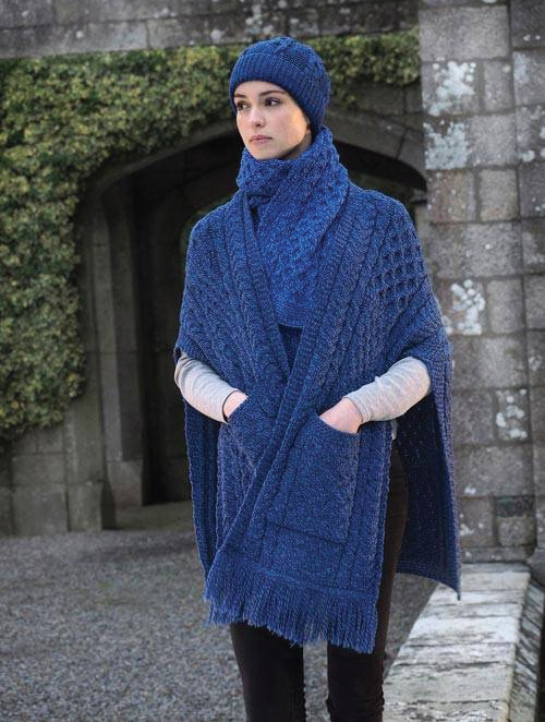 Tweed in the valley aran craft cable pocket shawl blue Aran Craft Cable Pocket Shawl Blue