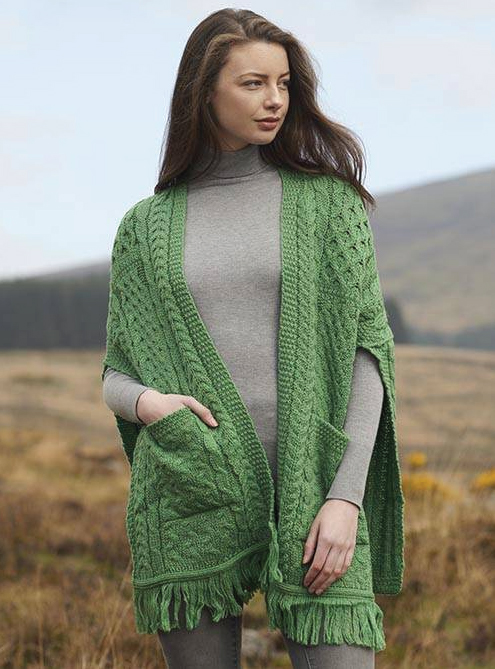 Tweed in the valley aran craft cable pocket shawl green Aran Craft Cable Pocket Shawl Green
