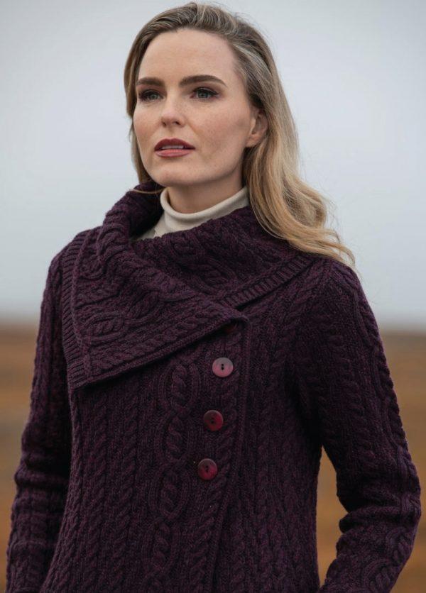 Tweed in the valley aran craft chunky collar coat with button damson Aran Craft Chunky Collar Coat With Button Damson