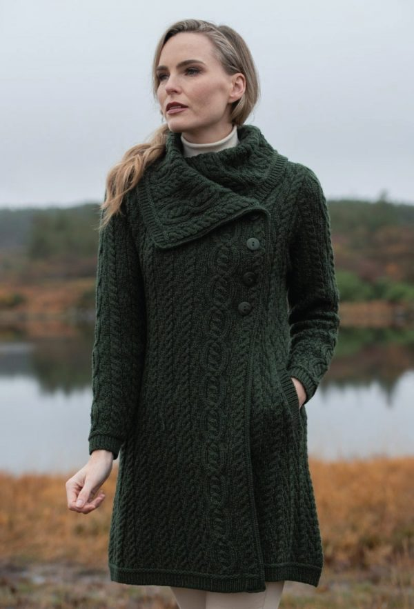 Tweed in the valley aran craft chunky collar coat with button dark green Aran Craft Chunky Collar Coat With Button Dark Green