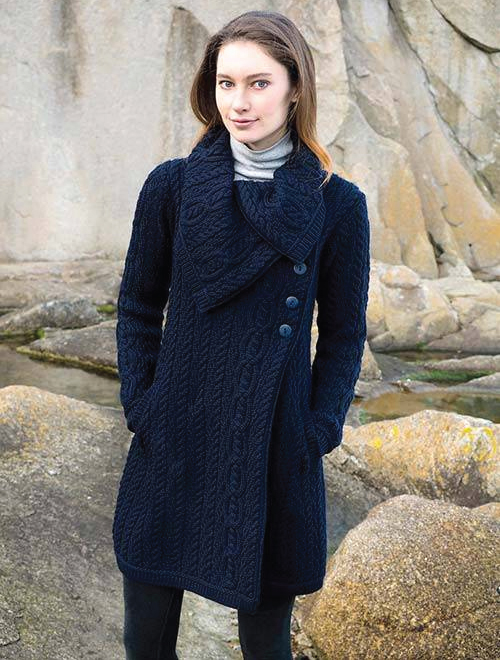 Tweed in the valley aran craft chunky collar coat with button navy Aran Craft Chunky Collar Coat With Button Navy