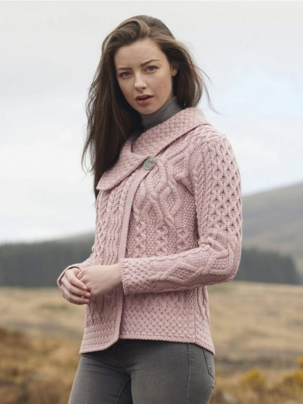 Tweed in the valley aran craft patchwork one button cardigan pink Aran Craft Patchwork One Button Cardigan Pink