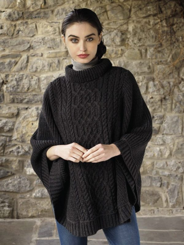 Tweed in the valley aran craft ribbed poncho charcoal Aran Craft Ribbed Poncho Charcoal