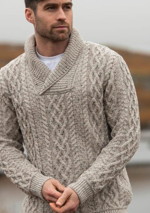 Tweed in the valley aran craft shawl collar sweater Oatmeal Aran Craft Shawl Collar Sweater Oatmeal