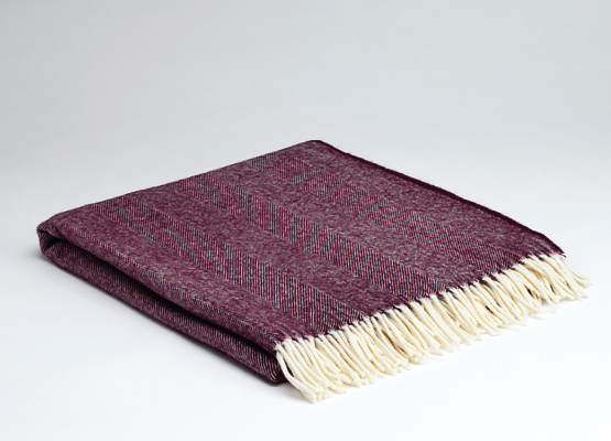 Tweed in the valley lambswool throw burgundy herringbone Lambswool Throw Burgundy Herringbone