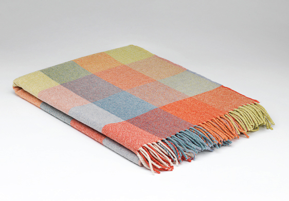 Tweed in the valley lambswool throw pastel rust check Lambswool Throw Pastel Rust Check