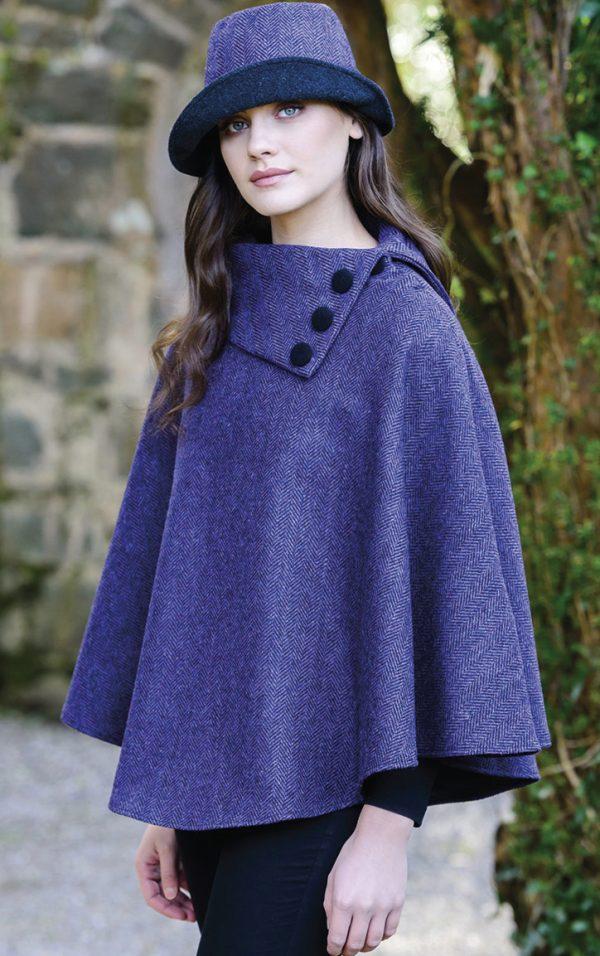 Tweed in the valley mucros tweed poncho Purple Mucros Tweed Poncho Purple