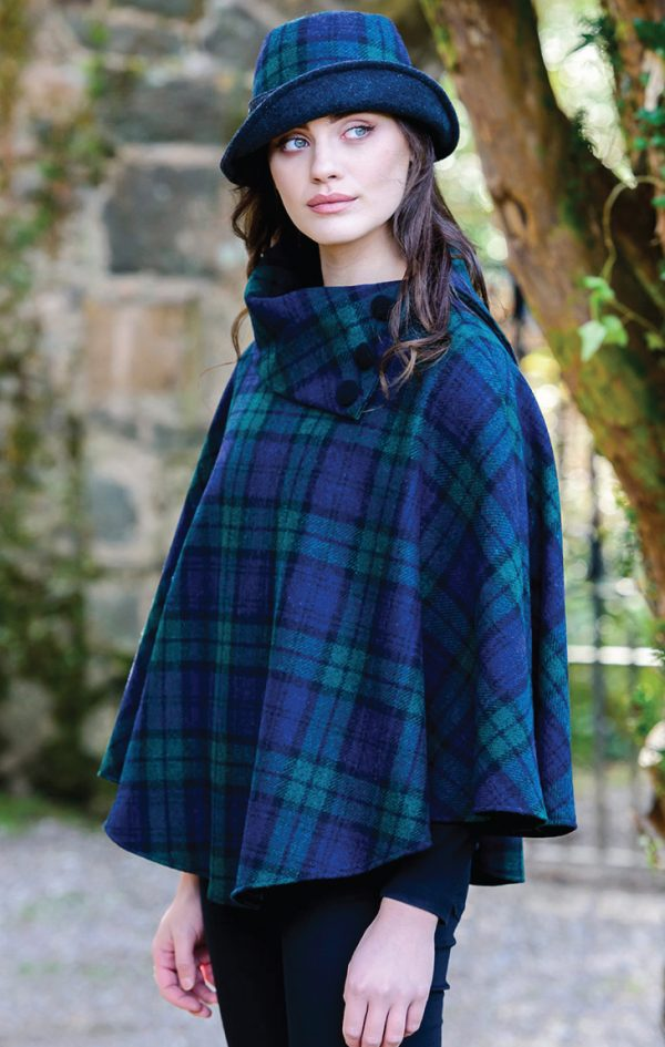 Tweed in the valley mucros tweed poncho blue greey plaid Mucros Tweed Poncho Blue & Greey Plaid