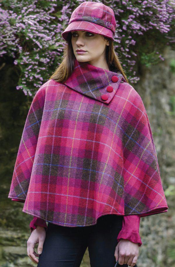 Tweed in the valley mucros tweed poncho pink check Mucros Tweed Poncho Pink Check