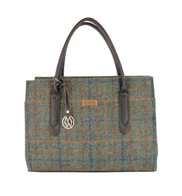 Tweed in the valley mucros tweed shoulder bag green check €95 Mucros Tweed Shoulder Bag Green Check
