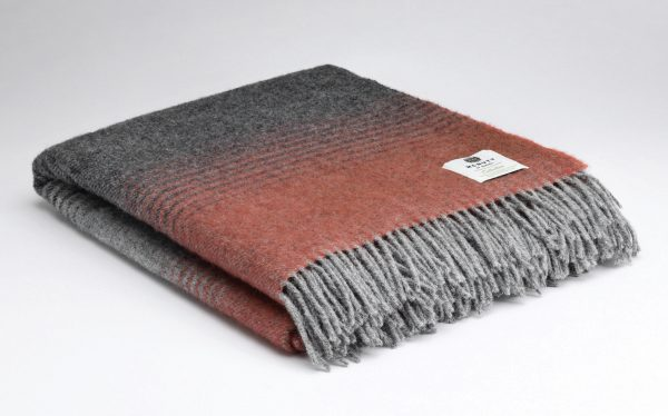 Tweed in the valley pure wool throw Charcoal orange stripe Pure Wool Throw Charcoal & Orange Stripe