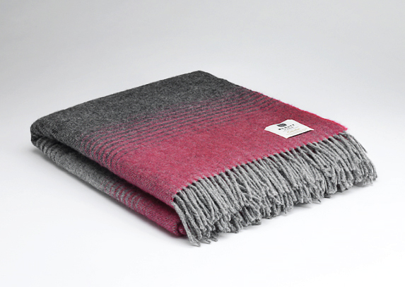 Tweed in the valley pure wool throw Charcoal raspberry stripe Pure Wool Throw Charcoal & Raspberry Stripe