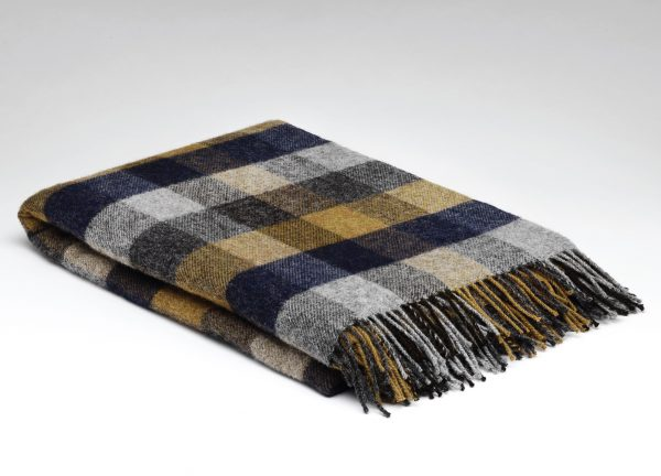 Tweed in the valley pure wool throw Navy mustard check Pure Wool Throw Navy & Mustard Check